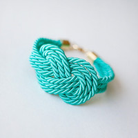 Teal Nautical Cord Sailor Knot Bracelet by pardes israel