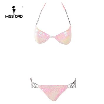 Missord 2017 Sexy harness metal chain sequin bikini pink color bodysuit FT8158