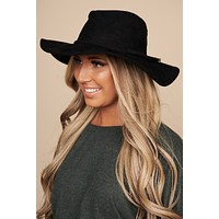 Heading Out West Faux Suede Floppy Hat (Black)