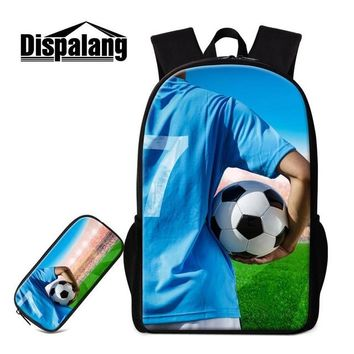 Boys bookbag trendy Dispalang Backpack for Boys 2Pcs/Set Combination Schoolbag whit Pencil Pouch 3D Printed Balls  Casual Mochila for Child AT_51_3