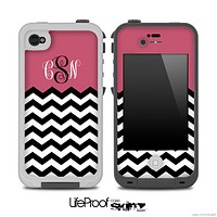 Pink White Black Custom Monogram Chevron Pattern for the iPhone 5 or 4/4s LifeProof Case