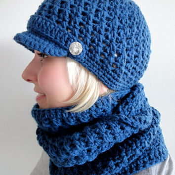 Crochet Newsboy Cap and Infinity Scarf. Set or Separately. 44 colors. Beanie. Women's Hat. Metal Buttons. Warm Fall Autumn Winter Accessory.