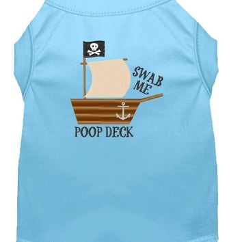 Poop Deck Embroidered Dog Shirt Baby Blue Sm (10) Small