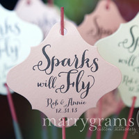 Wedding Sparkler Tags - Sparks will Fly Send Off - Wedding Favor Tags Script Custom with Names and Date -Silver, Pink, Gold (Set of 24) SS02