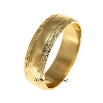 SOLID 14K YELLOW GOLD HIGH POLISH CUSTOM HAND ENGRAVED HAWAIIAN SCROLL RING 6MM