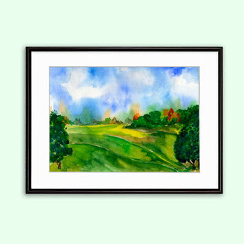 Download Printable Wall Art Watercolor Landscape Field and Sky Breath of nature Instant image Download Digital in 2 size