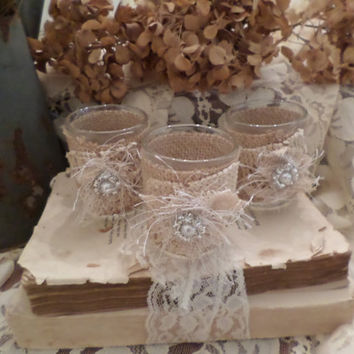 Rustic, Shabby Chic Votive Holder