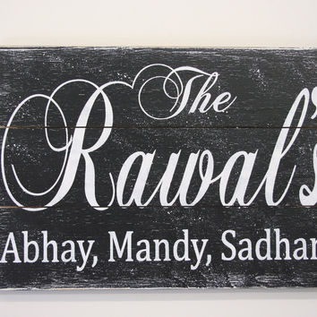 Family Name Sign Custom Name Sign Pallet Sign Housewarming Gift Anniversary Gift Wedding Gift Rustic Wall Decor Vintage Sign Handmade
