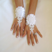 Unique Ivory and 3D white flower  Wedding gloves bridal gauntlets adorned pearls and beads french lace free ship