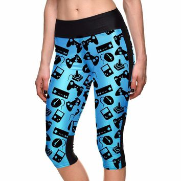 Lovely Blue High Waist Women Mid-Calf Leggings Sexy Gaming Keyboard Fitness Yoga Cropped Trousers Elastic Breathable Capris