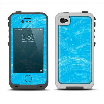 The Blue Painted Brush Texture Apple iPhone 4-4s LifeProof Fre Case Skin Set