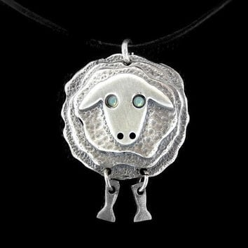 Sterling Silver Sheep necklace, cute sheep pendant, sheep jewelry, sheep necklace gift, whimsical jewelry, animal necklace