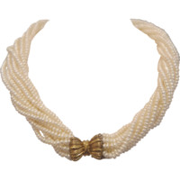 Seed pearl necklace, ten strands and gilt silver bow closure, ca. 1930