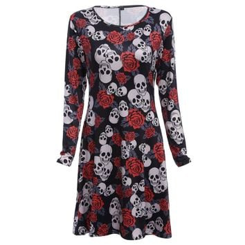 Stylish Round Collar Allover Skull Print A-line Halloween Dress for Women