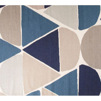 Moony Flat-Weave Rug, Blue/Beige, Area Rugs