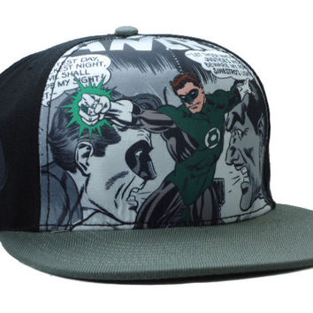 Green Lantern Comic Collage Snap-back Cap for Adults