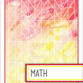 Back to School! Watercolor Binder Dividers - Math Class
