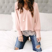 ONETOW fake two piece blouse shirt  lace blouse long sleevelady casual shirts for business work shirt ws5266o