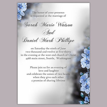 DIY Wedding Invitation Template Editable Word File Instant Download Elegant Printable Invitation Blue Invitations Flower invitation