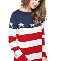 TopStyliShop Women's Stars and Stripes Pattern Round Neck Fashion Sweater