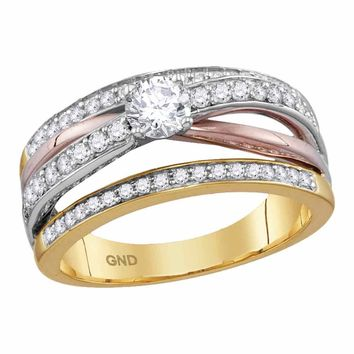 14kt Yellow Rose Gold Womens Round Diamond Solitaire Bridal Wedding Engagement Ring 3/4 Cttw
