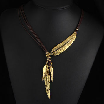 17KM  4 Color Brand New Big Luxury Statement Pendant Choker Necklace Vintage Maxi Rope Chain Feather Women Accessories