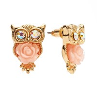 Candie's Gold Tone Simulated Crystal Owl & Flower Stud Earrings (Pink)