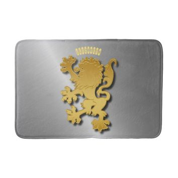 Golden Gradient Embossed Heraldic Lion With Shadow Bath Mat