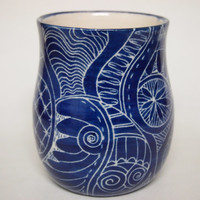 Mug unique coffee mug Handmade and hand decorated mug for coffee or tea in royal blue detailed henna art style patterns incised