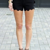 Black Scalloped Shorts-Karlie Scallop Side Shorts-$68.00 | Hand In Pocket Boutique