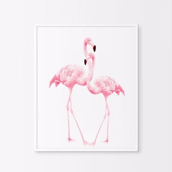 Pink flamingos/ Watercolor flamingos/nursery artwork/ printable artwork/birds. Printable flamingo