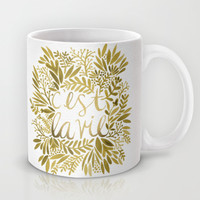 That's Life – Gold on Gold Mug by Cat Coquillette