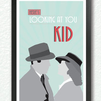 "Casablanca,Classic Movie Poster, quote poster, romantic print, ""here's looking at you kid"", Retro Art Deco,  A4 Poster"