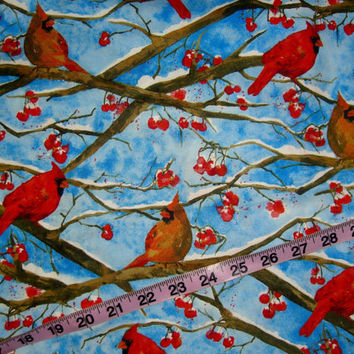 Winter Christmas fabric with birds Cardinals tree branches cotton quilt quilting sewing material to sew by the yard 1yd