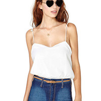 White Spaghetti Strap Backless Top