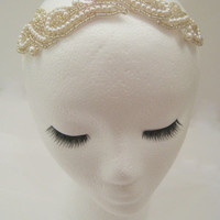 pearl wedding head piece, bridal headband, wedding fascinator, 1920s wedding, Hollywood glamour, ivory bridal hair piece