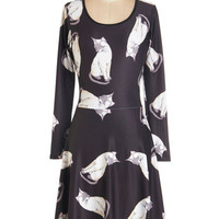 ModCloth Cats Mid-length Long Sleeve A-line Not Just a Kitty Face Dress in Illustration