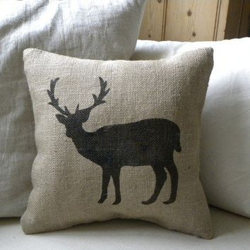 Burlap deer reindeer pillow cushion for Christmas by samantha2818