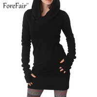 Forefair Trend Fashion Black Hooded Dress Women 2016 Autumn Winter Style Warm Long-Sleeve Sexy Sheath Bodycon Mini Party Dresses