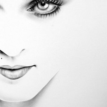 Madonna Minimalism Half Series Original Pencil Drawing Fine Art Portrait