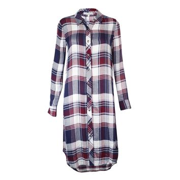 Plaid Button Down Tunic