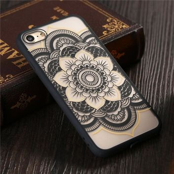 Sexy Retro Floral Phone Cases For iphone 7 6 6S Plus 5 5s SE Cover Fashion Lace Flower Paisley Mandala Henna Hard PC+TPU Case