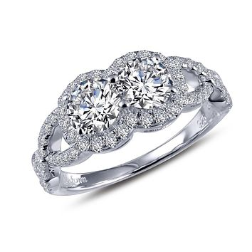 Lafonn Two-Stone Sterling Silver Platinum Plated Lassire Simulated Diamond Ring (1.5 CTTW)
