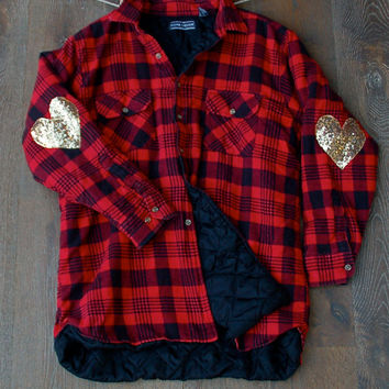 Sequin Flannel Shirt w Sequin Heart Elbow Patch Grunge 90s Inspired Flannel Boyfriend Hipster Flannel Tumblr Style Clothing Buffalo Plaid