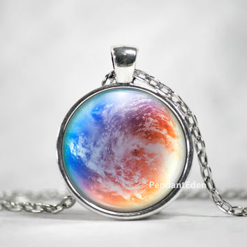 Planet Earth Necklace Pendant Jewelry Space, Galaxy, Celestial, Solar System,Pastel