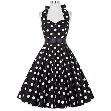 1950's-60's Vintage Polka Dots Plus Size Sexy Halter Short Party Dresses