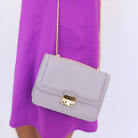 SMALL GOLD CHAIN PURSE- LIGHT GREY