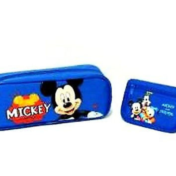 Disney Mickey Mouse Pencil Pouch/Pencil Case (Blue) and Wallet Combo-Brand New!
