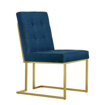 Victoria Navy Linen Dining Chair (set of 2)