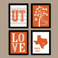University of Texas Hook'Em Horns College Custom Family Monogram Initial State LOVE Bird Tree Wedding Date Set of 4 Prints WALL Decor ART